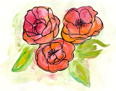 watercolor flower trio